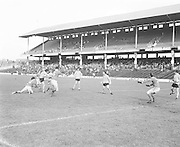 Antrim kicks the ball towards the goal during the Antrim v Mayo All Ireland Minor Gaelic Football Final in Croke Park on the 8th of September 1974.
