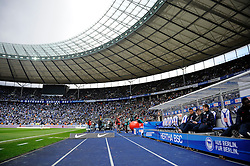 21.04.2012, Olympiastadion, Berlin, GER, 1. FBL, Hertha BSC Berlin vs 1. FC Kaiserslautern, 32. Spieltag, im Bild Hertha BSC Trainerbank mit der Ostkurve im Blick im Berliner Olympiastadion // during the German Bundesliga Match, 32th Round between Hertha BSC Berlin and 1. FC Kaiserslautern at the Olympiastadium, Berlin, Germany on 2012/04/21. EXPA Pictures © 2012, PhotoCredit: EXPA/ Eibner/ Johannes Koziol..***** ATTENTION - OUT OF GER *****