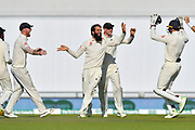 Wicket - Moeen Ali of England celebrates taking the wicket of Rishabh Pant of India during the 4th day of the 4th SpecSavers International Test Match 2018 match between England and India at the Ageas Bowl, Southampton, United Kingdom on 2 September 2018.