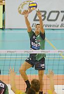 PAWEL SIEZIENIEWSKI.BOT SKRA BELCHATOW (ZOLTO-CZARNE) - KS JASTRZEBSKI WEGIEL JASTRZEBIE (ZIELONO-CZARNE).SIATKOWKA, PLS, SERIA A.23.12.2006. BELCHATOW..FOT. DARIUSZ HERMIERSZ / SPORT-FOTO / MEDIASPORT