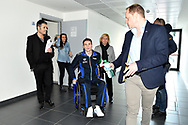 Roma 13-3-2019 Centro Federale di Ostia <br /> Swimmer Manuel Bortuzzo leaves his room at Ostia swimming federal center for a meeting with the press. Manuel Bortuzzo was shot in the back due to a mistaken identity and is paralysed from the waist down since then. This is the first outing of Manuel from the hospital and the rehabilitation center.  <br /> Foto Andrea Staccioli / Deepbluemedia / Insidefoto