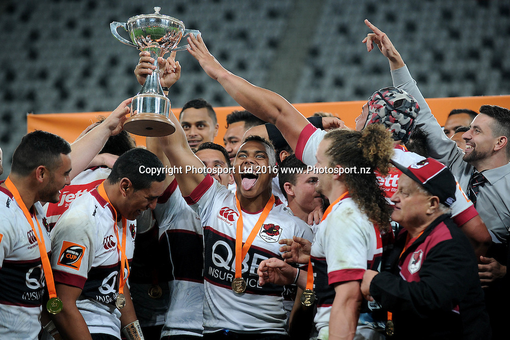 Tevita Li of North Harbour celebrate after receiving Mitre Ten Championship Trophy following the Mitre Ten Cup Championship final between Otago and North Harbour, at Forsyth Barr Stadium, Dunedin, New Zealand, on the 28th of October 2016. Credit: Joe Allison / www.Photosport.nz