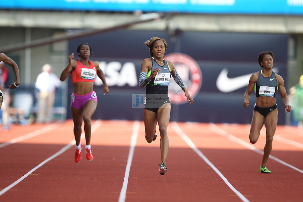 Sanya Richards-Ross runs in the 400m final during day 3 of the U.S. Olympic Trials for Track & Field at Hayward Field in Eugene, Oregon, USA 24 Jun 2012..(Jed Jacobsohn/for The New York Times)....