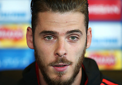 David De Gea of Manchester United speaks during the press conference - Mandatory by-line: Matt McNulty/JMP - 11/09/2017 - FOOTBALL - AON Training Complex - Manchester, England - Manchester United v FC Basel - Press Conference & Training - UEFA Champions League - Group A