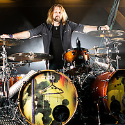 Portrait of John Humphrey, drummer of rock band Seether.
