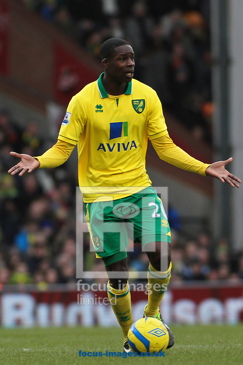 Picture by David Horn/Focus Images Ltd +44 7545 970036.26/01/2013.Leon Barnett of Norwich City looks for support during the The FA Cup match at Carrow Road, Norwich.