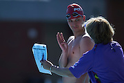 Sebastian Wilman SO Poland athlete in action while 25 meters backstroke competition during second day of the Special Olympics World Games Los Angeles 2015 on July 26, 2015 on Uytengsu Aquatics Centre at University of Southern California in Los Angeles, USA.<br /> USA, Los Angeles, July 26, 2015<br /> <br /> Picture also available in RAW (NEF) or TIFF format on special request.<br /> <br /> For editorial use only. Any commercial or promotional use requires permission.<br /> <br /> Adam Nurkiewicz declares that he has no rights to the image of people at the photographs of his authorship.<br /> <br /> Mandatory credit:<br /> Photo by &copy; Adam Nurkiewicz / Mediasport