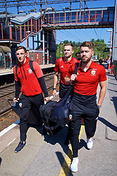 RUNCORN, ENGLAND - Tuesday, May 22, 2018: Wales' Tom Lockyer, Ryan Hedges and Tom Bradshaw at Runcorn Station as the squad travel by train as they head to Heathrow for a flight to Los Angeles ahead of the international friendly match against Mexico. (Pic by David Rawcliffe/Propaganda)