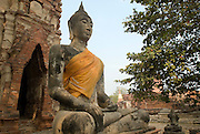 Seated figure of Buddha at Wat Mahathat, Ayuthaya.