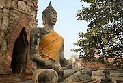 Seated figure of Buddha at Wat Mahathat, Ayuthaya.