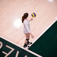4th year middle blocker Kathleen Ens (8) of the Regina Cougars in action during Women's Volleyball home game on November 3 at Centre for Kinesiology, Health and Sport. Credit: Arthur Ward/Arthur Images