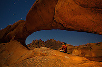 I spent a magical moonlit night in Namibia's Spitzkoppe, a granite playground of giant boulders and rock arches. I had so much fun, running around barefoot, and the moon was so intense, I did not even need a flash light!