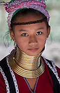 Girl of Long Neck Tribe near Chiang Mai, Northern Thailand.
