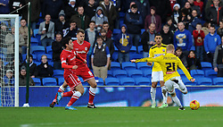 Brentford's Alex Pritchard scores against Cardiff at Cardiff City Stadium - Photo mandatory by-line: Paul Knight/JMP - Mobile: 07966 386802 - 20/12/2014 - SPORT - Football - Cardiff - Cardiff City Stadium - Cardiff City v Brentford - Sky Bet Championship