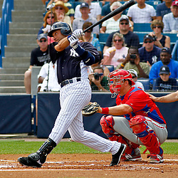 March 11, 2012; Tampa Bay, FL, USA; New York Yankees shortstop Derek Jeter (2) at bat during the bottom of the first inning of a spring training game against the Philadelphia Phillies at George M. Steinbrenner Field. Mandatory Credit: Derick E. Hingle-US PRESSWIRE