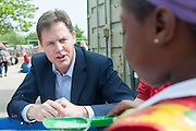 © Licensed to London News Pictures. 24/04/2014. Colchester, UK Deputy Prime Minister Nick Clegg visits Hazelmere Infant School and Nannas Day Nursery in Colchester on Thursday 24 April, to talk to teachers and parents about free childcare for two-year-olds, free school meals and the pupil premium.. Photo credit : Stephen Simpson/LNP
