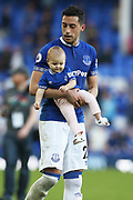 Everton defender Ramiro Funes Mori (25) during the lap of honour at the end of the Premier League match between Everton and Southampton at Goodison Park, Liverpool, England on 5 May 2018. Picture by Craig Galloway.