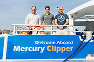 IMAGE PROVIDED FREE FOR EDITORIAL USE<br /> Roy Whitewood, Senior Consultant at the Wight Shipyard Company (left) and members of his team pictured on board the newest addition to London&rsquo;s river bus transport network, Mercury Clipper, pictured in East Cowes today as she begins a 200 nautical mile maiden journey to the Capital from the Isle of Wight. Joining the MBNA Thames Clippers fleet, Mercury Clipper, is the first of two new boats that will enter service in London this summer. Six members of crew &ndash; with over 80 years of combined experience between them &ndash; will carry out the 12 hour journey, at an average speed of 20 knots. <br />  <br /> A &pound;6.3 million investment in London&rsquo;s port and transport infrastructure, Mercury Clipper and Jupiter Clipper have been built at the Wight Shipyard Co Ltd on the Isle of Wight. The boats took 10 months to build, creating over 75 new jobs across the Isle of Wight and London, including the hiring of two dedicated apprentices and engagement with over 100 local suppliers from across the South of England.<br />  <br /> For more information, please visit www.mbnathamesclippers.com<br /> Picture date: Wednesday June 21, 2017.<br /> Photograph by Christopher Ison &copy;<br /> 07544044177<br /> chris@christopherison.com<br /> www.christopherison.com