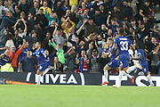 10 Eden Hazard celebrates a second goal for Chelsea FC during the EFL Cup match between Liverpool and Chelsea at Anfield, Liverpool, England on 26 September 2018.