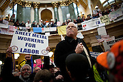 AFSCME Secretary-Treasurer Lee Saunders leads a protest in the State Capitol on February 23, 2011 in Madison, Wisconsin.