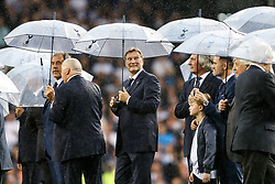 Glen Hoddle looks on as the rain comes down as Tottenham Hotspur put on a farewell show with former and current players after the final game at White Hart Lane before it's closure for demolition and redevelopment - Rogan Thomson/JMP - 14/05/2017 - FOOTBALL - White Hart Lane - London, England - Tottenham Hotspur v Manchester United - Premier League.