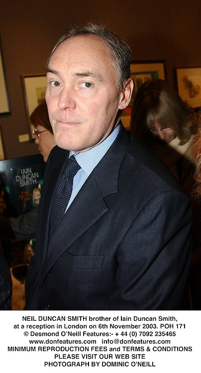 NEIL DUNCAN SMITH brother of Iain Duncan Smith, at a reception in London on 6th November 2003.POH 171
