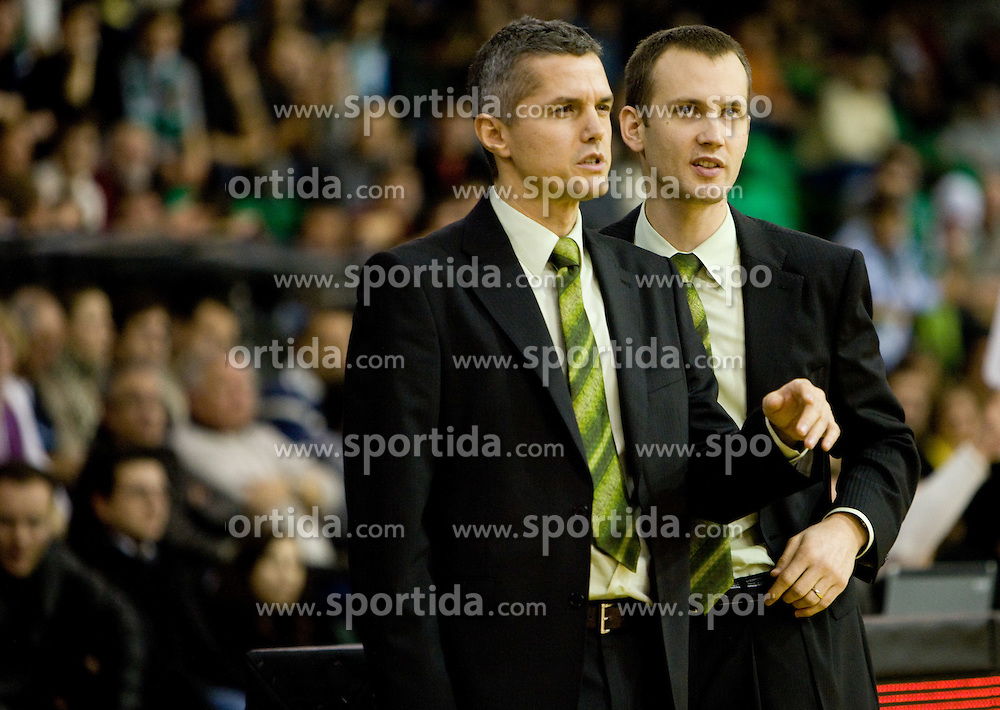 Assistant coach of Olimpija Zoran Martic and Assistant coach of Olimpija Gasper Potocnik  at Euroleague basketball match in 6th Round of Group C between KK Union Olimpija and Maccabi Tel Aviv, on December 3, 2009, in Arena Tivoli, Ljubljana, Slovenia. (Photo by Vid Ponikvar / Sportida)