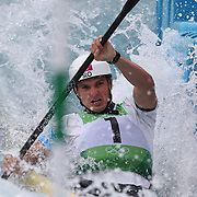 Peter Kauzer, Slovakia, in action during the Kayak Single (K1) Men Final during the Canoe Slalom competition at Lee Valley White Water Centre during the London 2012 Olympic games. London, UK. 1st August 2012. Photo Tim Clayton