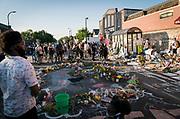 A neighborhood gathering near the site of George Floyd's death in Minneapolis, Minnesota on Monday, June 1, 2020.