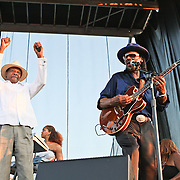 "WASHINGTON, DC -  August 15th, 2009 -  ""Godfather of Go-Go"" Chuck Brown (R) is joined onstage by ""Mayor For Life"" Marion Barry (L) at the Stone Soul Picnic at RFK Stadium in Washington, D.C. (Photo by Kyle Gustafson)"