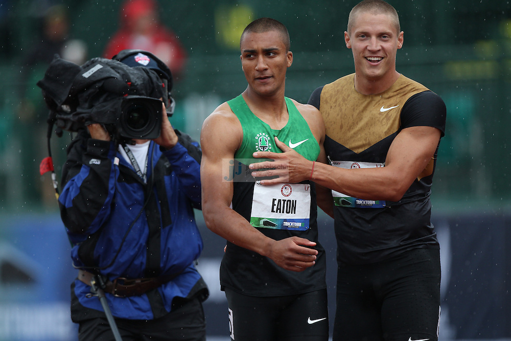 Ashton Easton (L) is congratulated by Trey Hardee after a heat for the 100m dash during the Decathlon during day 1 of the U.S. Olympic Trials for Track & Field at Hayward Field in Eugene, Oregon, USA 22 Jun 2012..(Jed Jacobsohn/for The New York Times)...