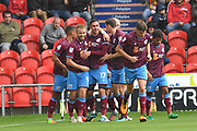 Scunthorpe United celebrate goal scored by Scunthorpe United forward Lee Novak (17) to go 0-1 during the EFL Sky Bet League 1 match between Doncaster Rovers and Scunthorpe United at the Keepmoat Stadium, Doncaster, England on 17 September 2017. Photo by Ian Lyall.