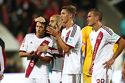 24.09.2014, Voith Arena, Heidenheim, GER, 2. FBL, 1. FC Heidenheim vs 1. FC Nuernberg, 7. Runde, im Bild Niklas Stark ( 1.FC Nuernberg ) Manuel Bihr ( 1.FC Nuernberg ) nach der Niederlage // during the 2nd German Bundesliga 7th round match between 1. FC Heidenheim and 1. FC Nuernberg at the Voith Arena in Heidenheim, Germany on 2014/09/24. EXPA Pictures © 2014, PhotoCredit: EXPA/ Eibner-Pressefoto/ Langer<br /> <br /> *****ATTENTION - OUT of GER*****