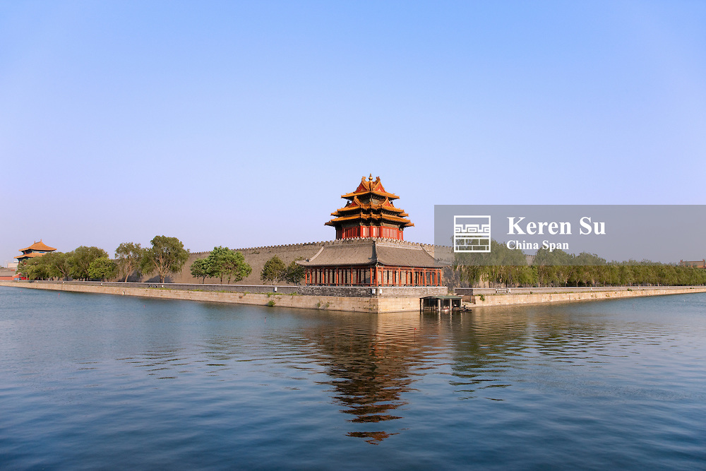 Corner Tower by the moat, Forbidden City, Beijing, China