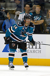 Sep 24, 2011; San Jose, CA, USA; San Jose Sharks defenseman Nick Petrecki (54) warms up before the game against the Phoenix Coyotes at HP Pavilion.  San Jose defeated Phoenix 1-0. Mandatory Credit: Jason O. Watson / US PRESSWIRE