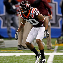 January 3, 2012; New Orleans, LA, USA; Virginia Tech Hokies cornerback Jayron Hosley (20) against the Michigan Wolverines prior to kickoff of the Sugar Bowl at the Mercedes-Benz Superdome.  Mandatory Credit: Derick E. Hingle-US PRESSWIRE
