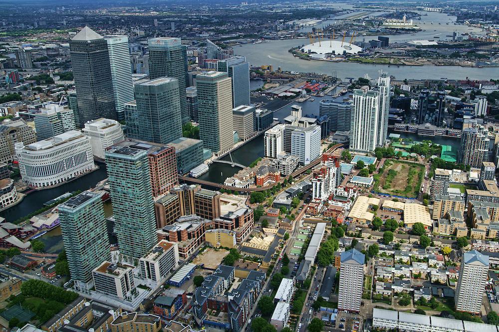Aerial View, Canary Wharf & O2 Arena (Millennium Dome)
