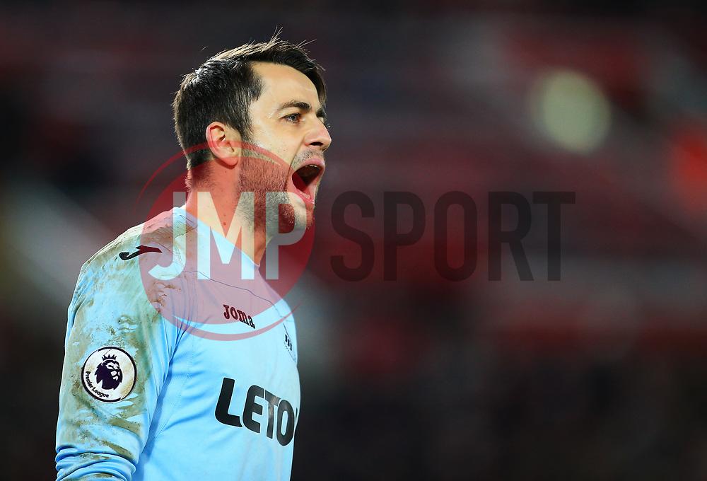 Lukasz Fabianski of Swansea City shouts - Mandatory by-line: Matt McNulty/JMP - 26/12/2017 - FOOTBALL - Anfield - Liverpool, England - Liverpool v Swansea City - Premier League