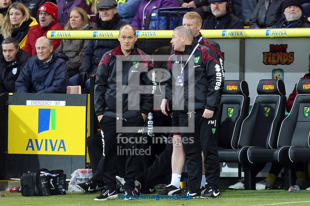 Norwich Manager Alex Neil, Norwich First Team Coach Gary Holt and Norwich First Team Coach Frankie McAvoy during the Barclays Premier League match at Carrow Road, Norwich<br /> Picture by Paul Chesterton/Focus Images Ltd +44 7904 640267<br /> 12/12/2015