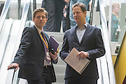 © Licensed to London News Pictures. 14/03/2015. Liverpool, UK. James Holt and Deputy Prime Minister and Leader of the Liberal Democrats Nick Clegg arrives at the conference centre. The Liberal Democrat Spring Conference in Liverpool 14th March 2015. Photo credit : Stephen Simpson/LNP
