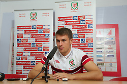 NOVI SAD, SERBIA - Monday, September 10, 2012: Wales' captain Aaron Ramsey during a press conference at the Karadorde Stadium ahead of the 2014 FIFA World Cup Brazil Qualifying Group A match against Serbia. (Pic by David Rawcliffe/Propaganda)