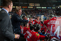 KELOWNA, CANADA - JANUARY 28: Associate coach, Kyle Gustafson,and head coach, Mike Johnston of the Portland Winterhawks stand on the bench against the Kelowna Rockets on January 28, 2017 at Prospera Place in Kelowna, British Columbia, Canada.  (Photo by Marissa Baecker/Shoot the Breeze)  *** Local Caption ***