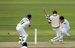 Hampshire's Sean Terry covers his face as Somerset's Peter Trego pulls the ball - Photo mandatory by-line: Robbie Stephenson/JMP - Mobile: 07966 386802 - 21/06/2015 - SPORT - Cricket - Southampton - The Ageas Bowl - Hampshire v Somerset - County Championship Division One