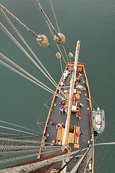 "United States, Washington, San Juan Islands, deck of historic schooner ""Adventuress"" viewed from top of mast"