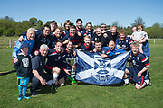 Dundee Social with the cup after their win over Osnaburg - Osnaburg v Dundee Social in Dundee Sunday FA Consolation League Cup Final at Fairfield Park, Dundee, Photo: David Young<br /> <br />  - &copy; David Young - www.davidyoungphoto.co.uk - email: davidyoungphoto@gmail.com