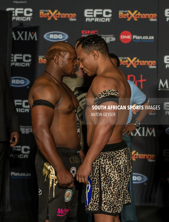 JOHANNESBURG, SOUTH AFRICA - MARCH 26: Fight 11 Heavyweight Christophe Walravens vs Bernardo Mikixi during the EFC AFRICA 28 weigh-in event at the The Dome on March 26, 2014 in Johannesburg, South Africa. (Photo by Anton Geyser)