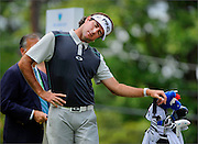 Bubba Watson acknowledges the crowd after making his par putt on the fifteenth hole of the third round of The Barclays Championship held at Plainfield Country Club in Edison, New Jersey on August 29.