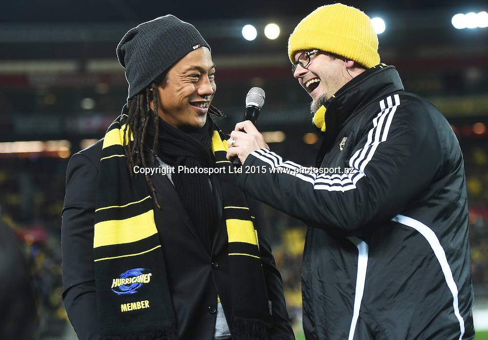 Tana Umaga during the Super Rugby Final between the Hurricanes and Highlanders at Westpac Stadium in Wellington., New Zealand. Saturday 4 July 2015. Copyright Photo: Andrew Cornaga / www.Photosport.nz