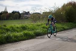 Rebecca Womersley (GBR) of Drops Cycling Team descends on the first downhill section of the 2.8km time trial prologue of Elsy Jacobs - a stage race in Luxembourg in Luxembourg on April 29, 2016 in Luxembourg.