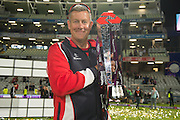 Ashley Giles with the Natwest t20 Trophy NatWest T20 Blast final match between Northants Steelbacks and Lancashire Lightning at Edgbaston, Birmingham, United Kingdom on 29 August 2015. Photo by David Vokes.